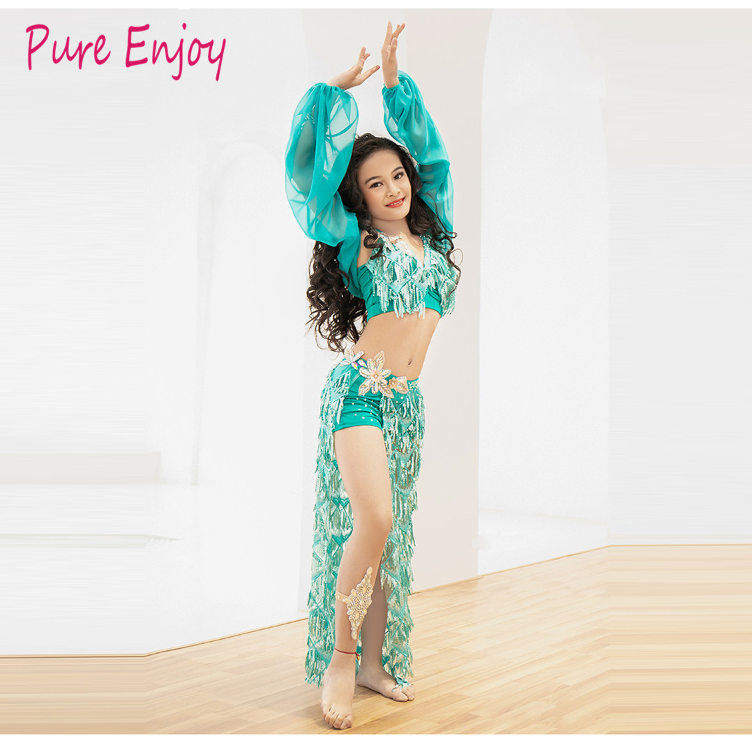 Children's Belly Dance Performance Service New Sequined Dress Set Oriental Dance Competition Dance Suit