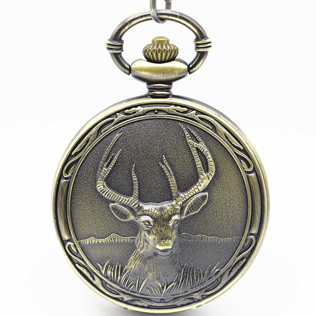 Unique Retro Bronze Deer Front Locomotive Engine Design Necklace Pendant Quartz Pocket Watch With FOB Chain Mens Womens Gifts
