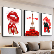Fashion Paris Girl Perfume Red Lips Flower 5D DIY Diamond Painting Wall Art Canvas Nordic Mosaic Pictures Decor