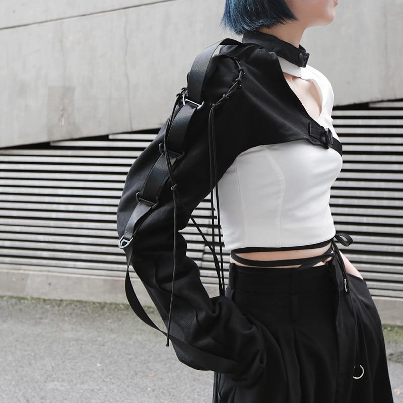 Fashion Irregular One Shoulder Long Sleeved With A Tie-up Women Streetwear Hip Hop Buckle Halter Long Sleeve Coat Tops Black