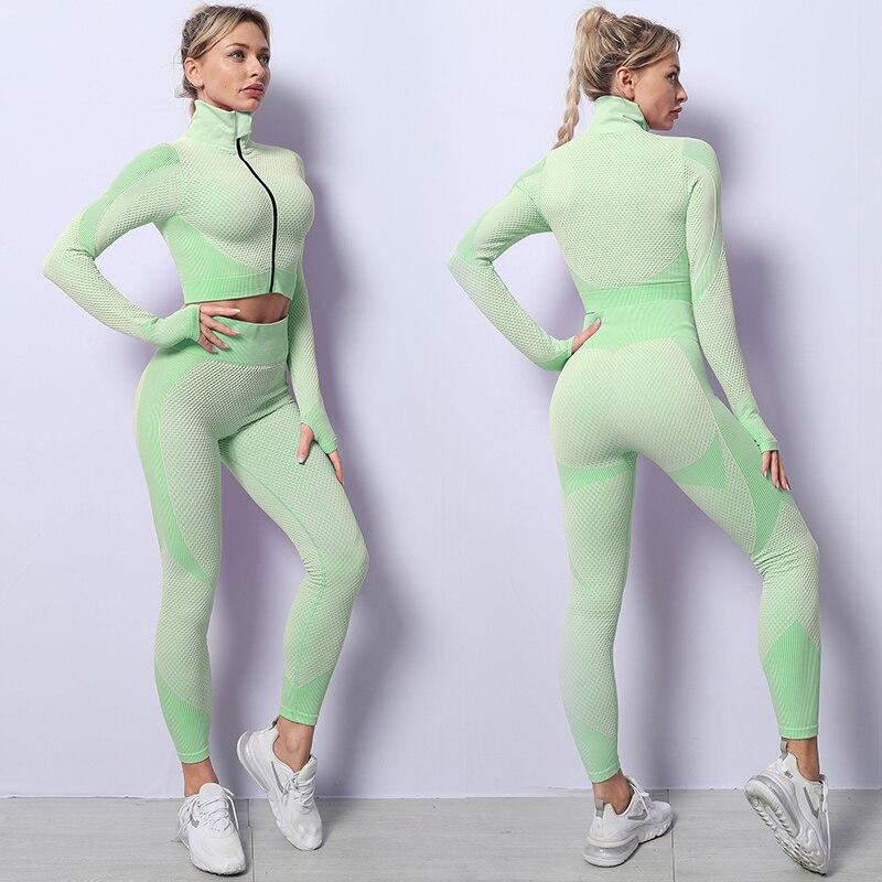 2/3PCS Femmes Sans Couture Yoga Ensemble D'entraînement de Sport Vêtements De Sport Fitness À Manches Longues Taille Haute Leggings Tenues de Sport 2