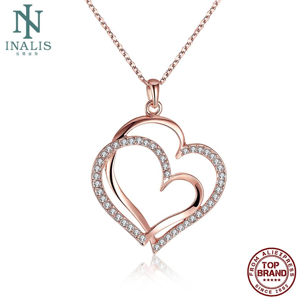 INALIS smykker ekte rose gull farge dobbelt hjerte anheng halskjede med Crystal halskjeder kjede