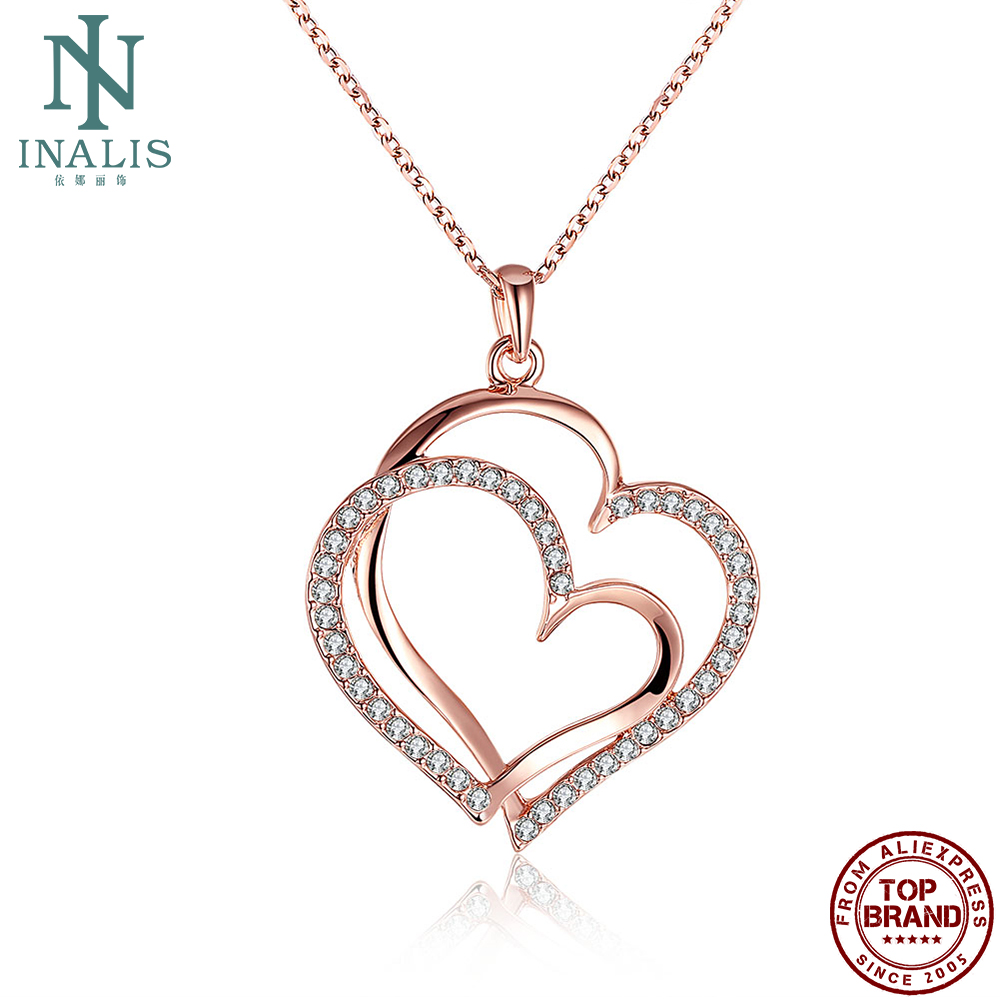 INALIS Κοσμήματα Γνήσιο Ροζ Χρυσό Χρώμα Κρεμαστό Κολιέ Διπλής Καρδιάς με Κολιέ Κολιέ Αλυσίδα