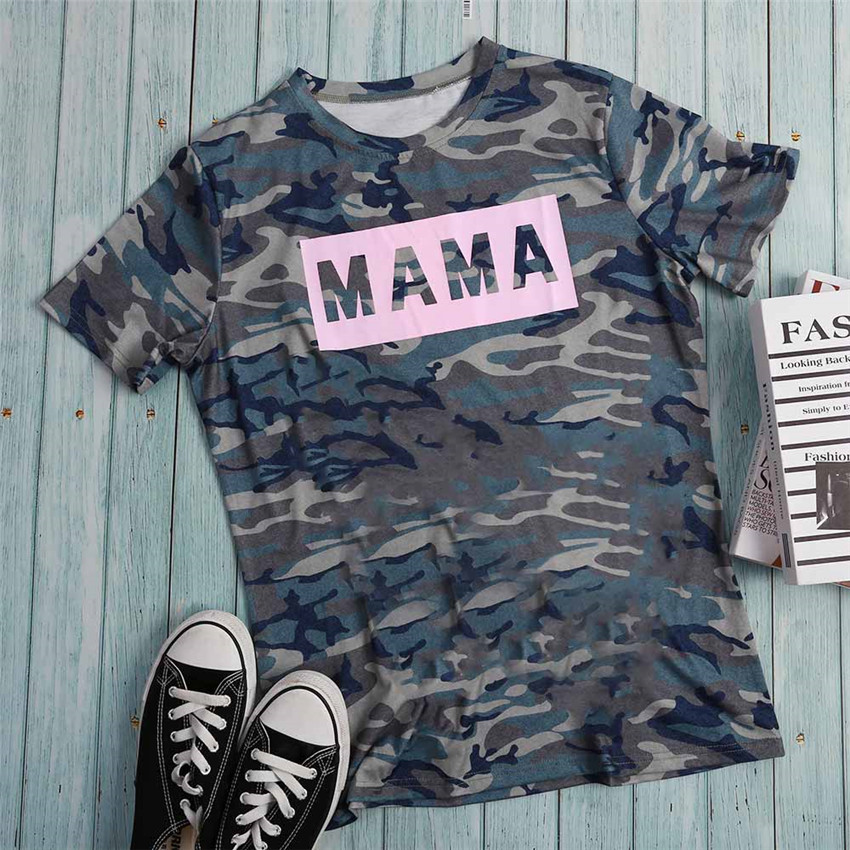 Camouflage T Shirt Women Short Sleeve Top 2019 Letter Print Tops Tee Female Cool Tee Shirts camisetas verano mujer 2019 image
