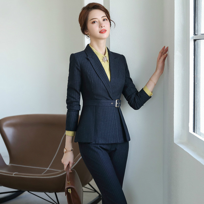 Women's Suit Set High Quality Pants Suit Long Sleeve Striped Winter Jacket Female Two-piece Slim Trousers Career Office Suit