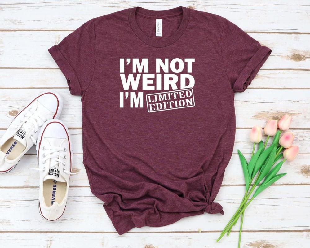 Женская футболка с принтом I'm Not Weird I'm Limited Edition, Женская свободная футболка с коротким рукавом и круглым вырезом, женская футболка