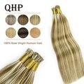QHP капсулы необрезанные волосы для наращивания на заколках 100% Необработанные чистые человеческие волосы палка предварительно скрепленные ...