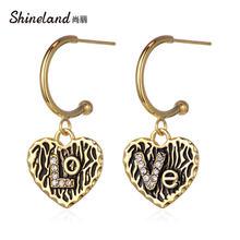 Женские Винтажные висячие серьги shineland с металлическим сердечком