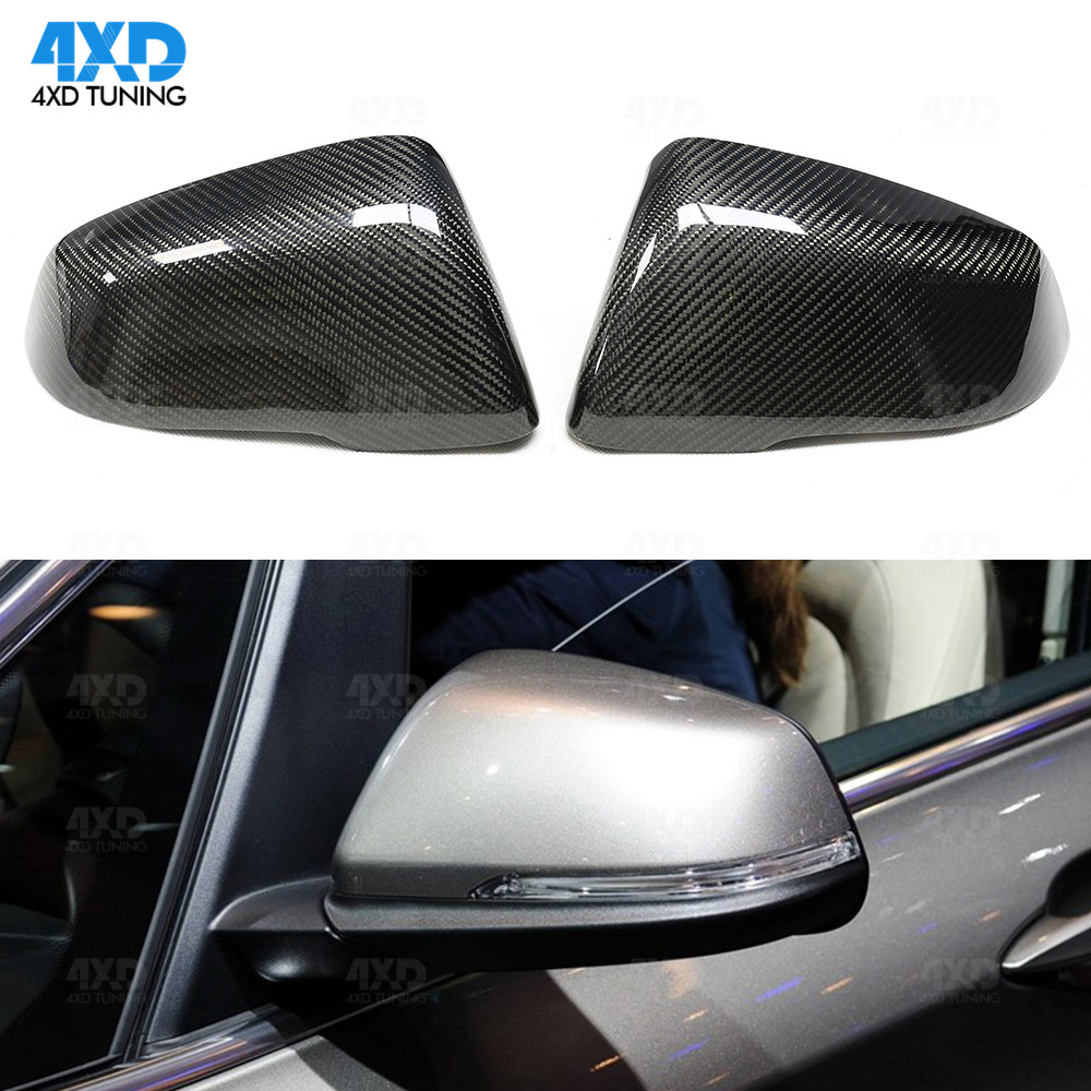 ABS Carbon Fiber Rear Rearview Mirror Cover Trim For BMW X1 F48 X2 F39 2017-2019