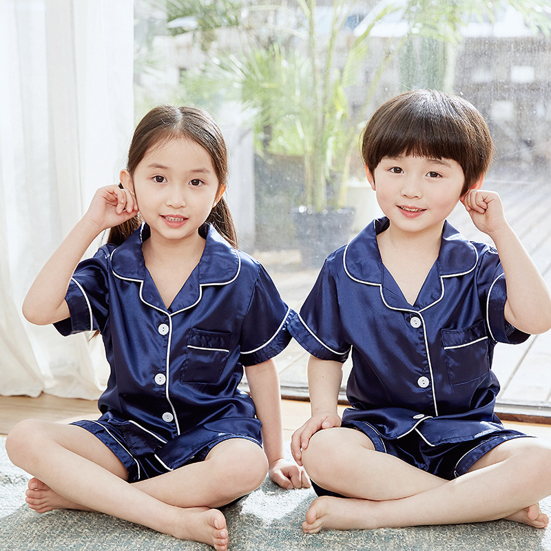 [Xin] Meng Dai Bear CHILDREN'S Pajamas Cardigan Short Sleeve Shorts Satin Imitated Silk Fabric 8-18 Code
