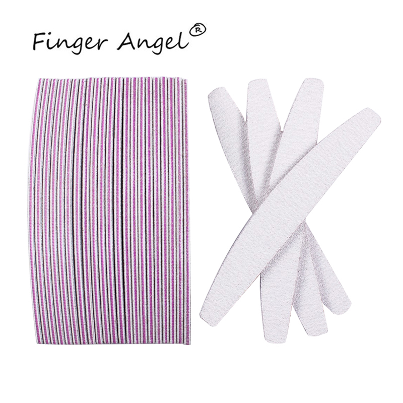 Finger Angel Gray Half Moon Nail File Sanding Buffer Blocks Professional Manicure Tools For Nail Care#FJH06