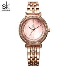 Shengke Vrouwen Jurk Horloge Rose Goud Rvs Mode Dames Horloge Natuurlijke Mop Quartz Klok Vrouwelijke Luxe Horloges