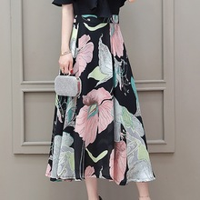 Sumemr Floral Skirt Women Boho Casual Beach Skirts Fashion High Waist Zipper A-Line Ankle-Length Skirts