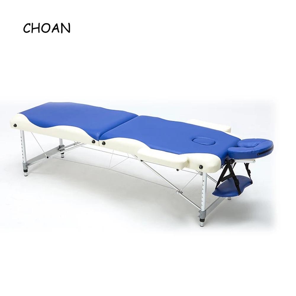60CM Aluminum Alloy Adjustable PVC Leather Massage Table Spa Tattoo Beauty Furniture Portable Folding  Salon Facial Massage Bed