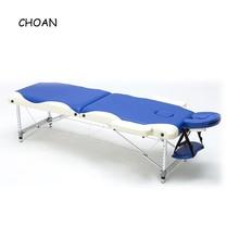 60 см алюминиевый сплав регулируемый массажный стол из ПВХ кожи спа тату Красота Мебель портативный складной салон кровать для массажа лица