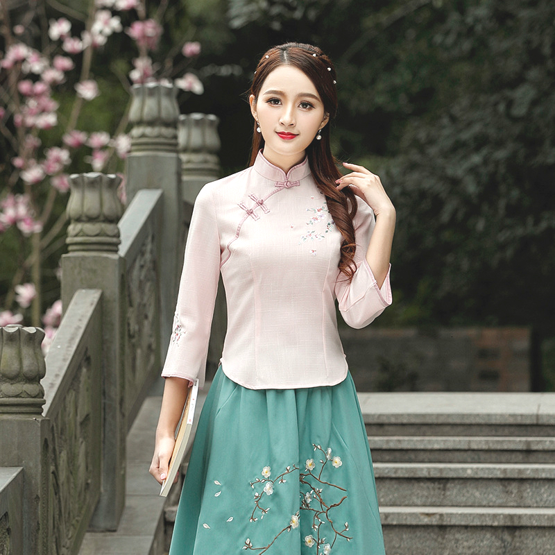 <font><b>4XL</b></font> Chinois Chinese Suit <font><b>Camisa</b></font> China <font><b>Mujer</b></font> Costume Cheongsam Blouse Tea Suit Traditional Chinese Clothing Women Shirt Qipao image