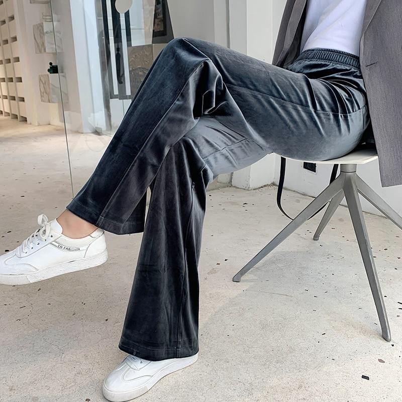 Women's Pants Straight Female Trousers Wide Leg Korean Style Fashion Streetwear Vintage Velvet Casual Loose Pants Suits Office