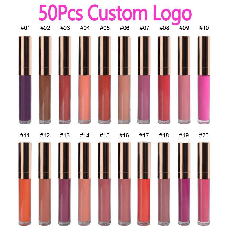 50pcs 30 Colors Waterproof Matte Liquid Lipstick Lip Tint Matte Lip Gloss Cosmetic Lipstick Long Lasting Lipgloss Custom Logo