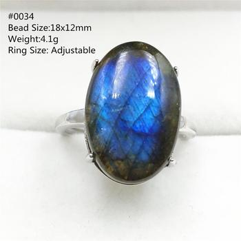 Genuine Natural Blue Labradorite Adjustable Ring Love Gift Luxury 925 Sterling Silver Ring Jewelry AAAAA чайник rainstahl со свистком цвет белый 2 7 л 7642 27rs wk