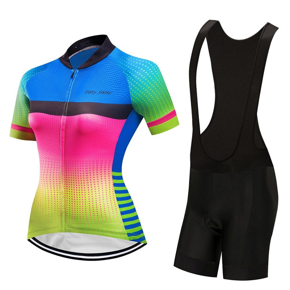 A set Women Cycling Jerseys Uniforms Short Sleeve Bicycle Wear Biking Clothing
