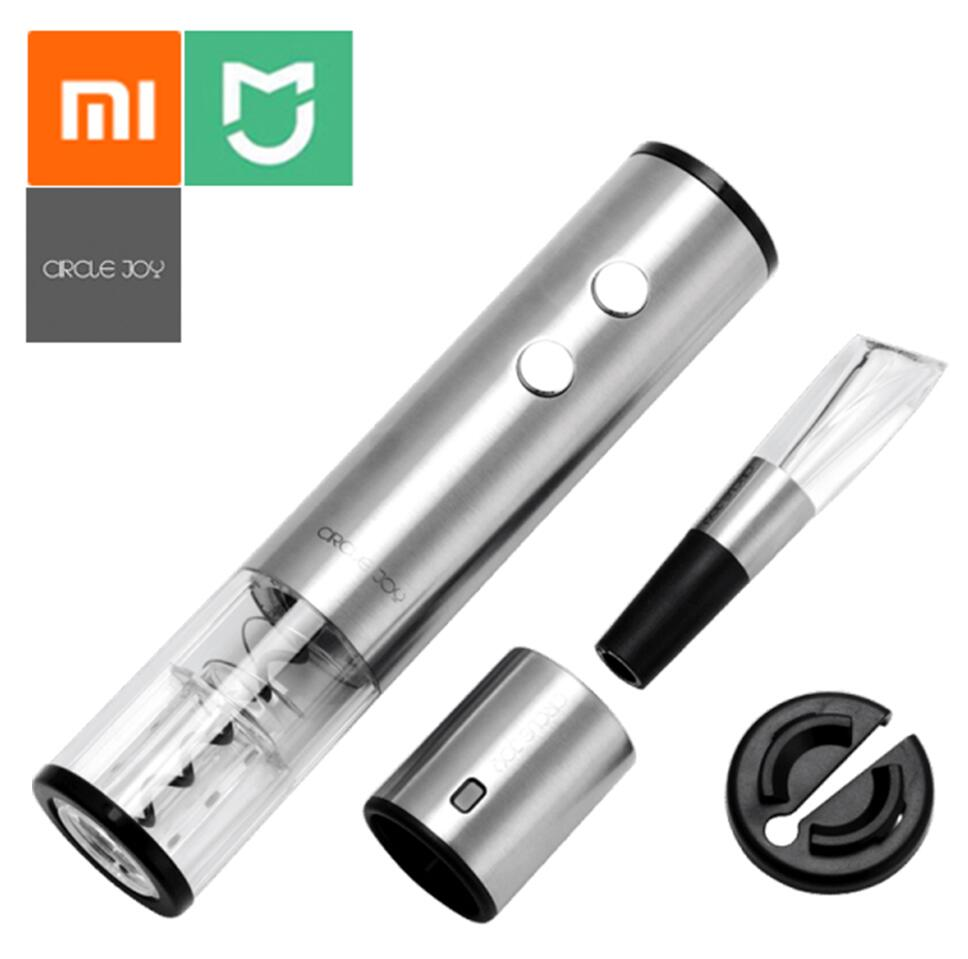 Xiaomi Mijia Circle Joy Electric Bottle Opener Stainless Steel Mini Wine Stopper Wine Decanter Aerator Smart Wine Set Gift