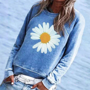 2020 Sweatshirts Women Daisy Women's Pullover No Hooded Ladies Long Sleeve Sunflower Sweatshirts Ladies Casual Pullover Clothes