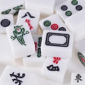 Image 2 - Cor jade branco 40mm ou 42mm padrão chinês mahjong 144 peças telhas jogo conjunto completo na mesa