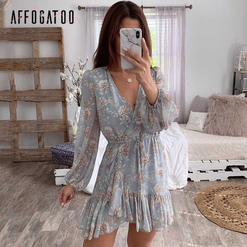 Affogato סקסי v-צוואר פרחוני הדפסת נשים קיץ שמלה אלגנטית לפרוע ארוך שרוול חלול את שמלה לעטוף מקרית חוף נופש שמלה