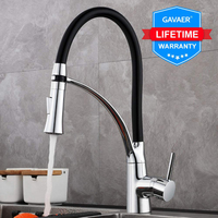 Gavaer faucets rubber design chrome mixer tap Taps Single Handle Pull Down Deck Sinks Faucet Rotating Modern Kitchen Faucet