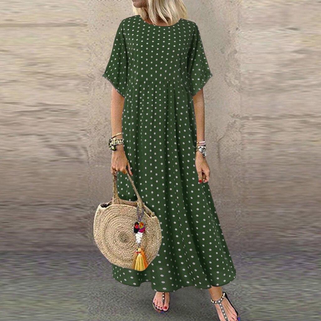 Женский винтажный сарафан 2020, длинное платье макси с круглым вырезом, женское повседневное летнее платье в горошек, пляжные платья в стиле б...
