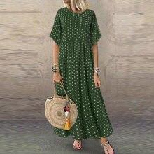 2020 femmes Robe d'été Vintage col rond longue Maxi Robe femme décontracté point pinté Robe d'été plage Boho robes Vestidos Robe