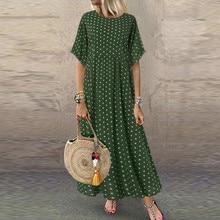 2020 Women Sundress Vintage O-Neck Long Maxi Dress Female Casual Dot Pinted Summer Dress Beach Boho Dresses Vestidos Robe