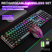 Mouse-Combo Gaming Keyboard Rechargeablle-Switch Detachable Rainbow Backlit And