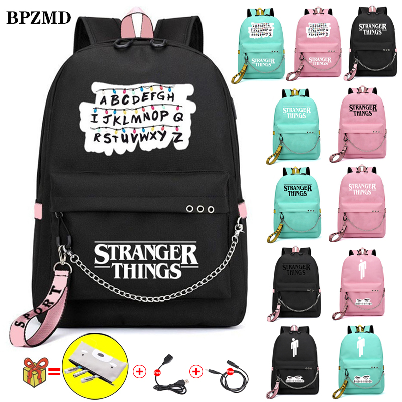 BPZMD Letter Canvas Stranger Things Women Backpack For School Teenagers Girls Student Waterproof Bags Usb Laptop Travel Backpack
