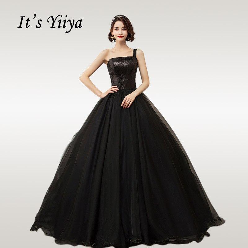 Es YiiYa vestido De novia brillante lentejuelas negro novia vestidos De baile De Boda sin tirantes talla grande vestido largo hasta el suelo De Mariee CH204