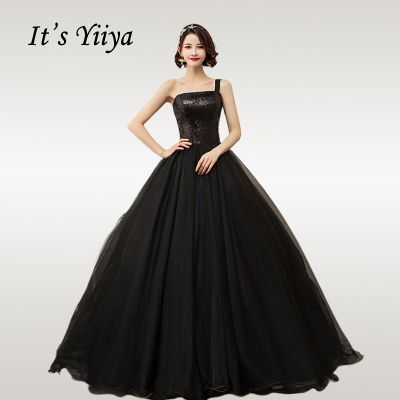 It's YiiYa Wedding Dress Shining Sequins Black Bride Wedding Ball Dresses Strapless Plus Size Floor Length Robe De Mariee CH204
