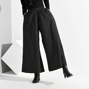 Image 2 - EAM pantalones de pierna ancha a rayas largo para mujer, pantalón negro, cintura alta elástica, corte holgado, moda, Primavera, Otoño, 2020, SA9550