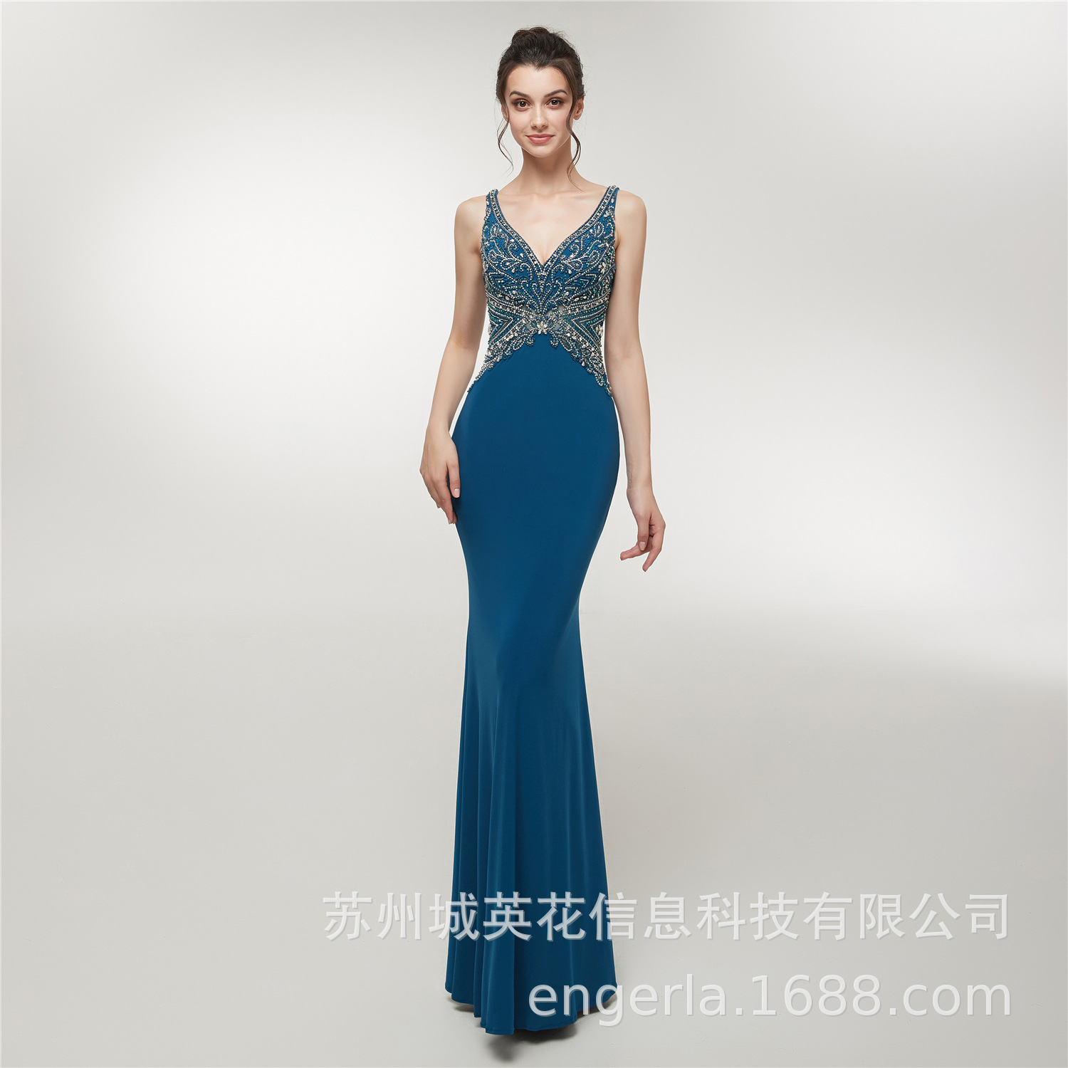 Silver Straps Evening Dresses Long Crystals Beaded Formal Gown Mermaid Lace Up Back Robe De Soiree
