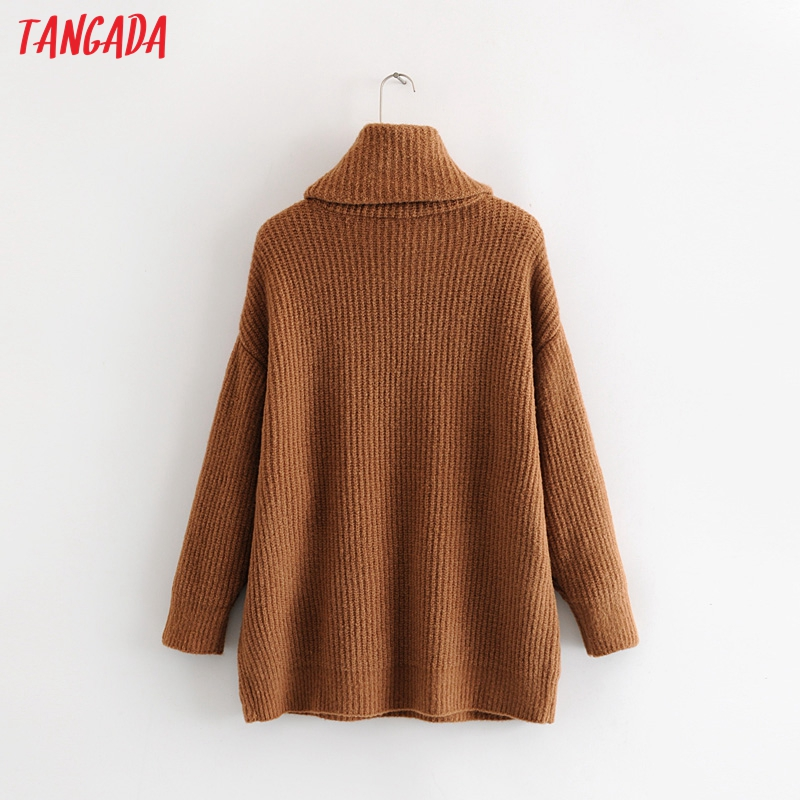 Tangada women jumpers turtleneck sweaters oversize winter fashion 19 long sweater coat batwing sleeve christmas sweate HY135 7