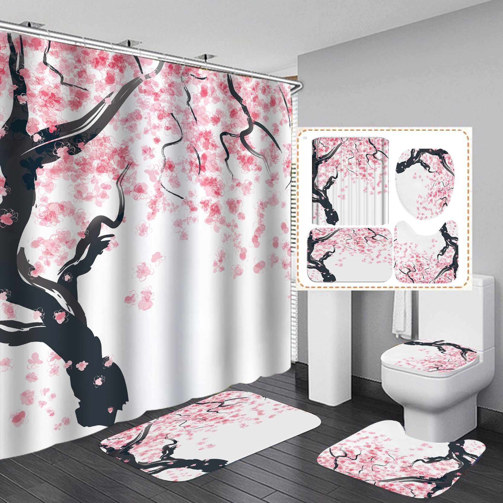 Shower Curtain Bathroom Curtains Garden Flowers Pink Peach Blossom Flower Tree Pure White Background Cloth Fabric Decor Shower Curtains Aliexpress