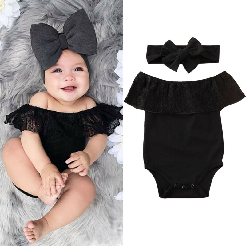 Newborn Baby Bodysuits Set Baby Girl Lace Clothes Off Shoulder Bodysuits For Newborn Solid Black Baby Girls Summer Outfit Set