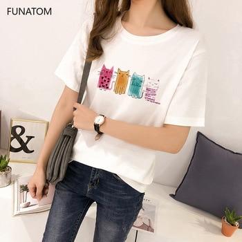 Women Clothes Cat Print Sweet Short Sleeve Tshirt Printed Women Shirt T Female T-shirt Top Casual Woman Tee