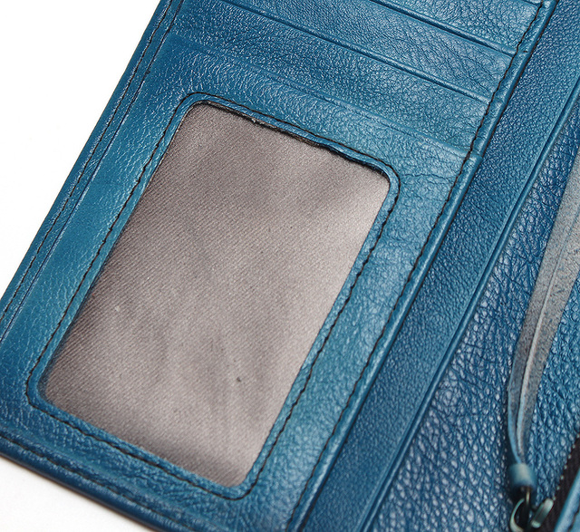 RFID 100% Classic Natural Brush Leather Vintage Style Wallet