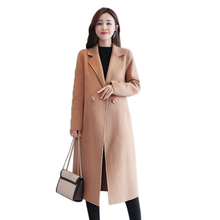 Long Section Cashmere Blends Coat women 2019 Autumn Winter New Slimming Thin Womens Woolen Solid Color  Clothes
