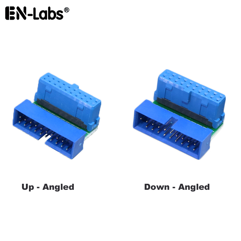 <font><b>USB</b></font> <font><b>3.0</b></font> 20pin Male to Female Extension Adapter Splitter Cable,Angled 90 Degree USB3.0 19pin <font><b>Connector</b></font> Plug Extender <font><b>Motherboard</b></font> image