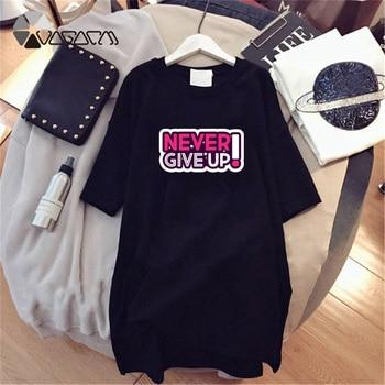 Women Dresses NEVER Series Letter Plus Size Black Mini Dress Loose Summer Long T Shirt Casual Clothes Femme Tops White Sukienka 74