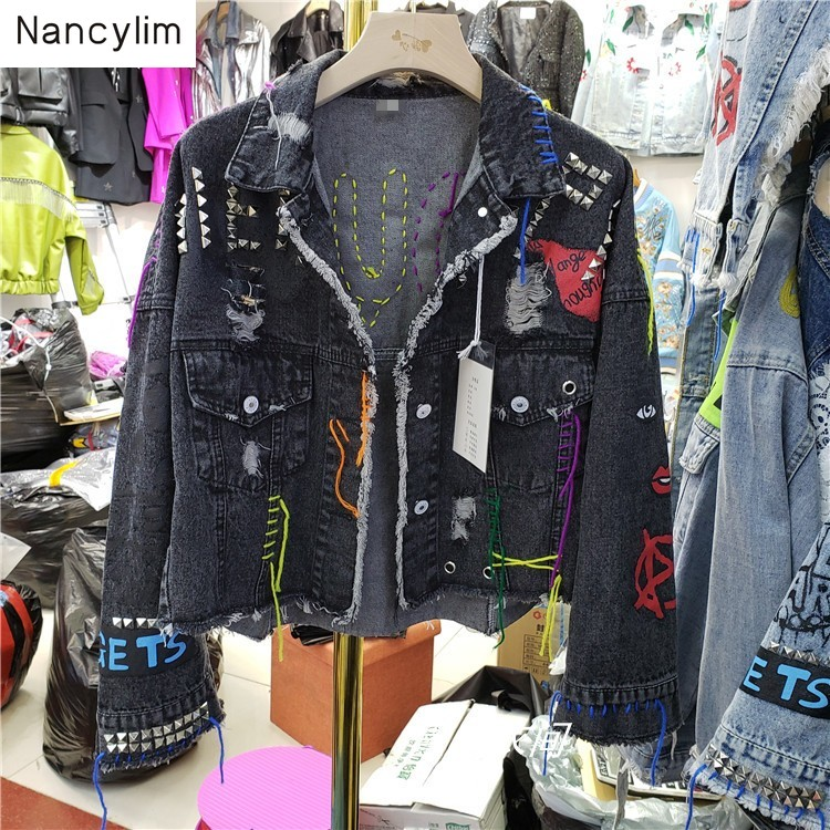 2019 Autumn New Graffiti Cowboy Coat Women Streetwear Rivet Pin Burr Hole Coat Short Black   Jacket   Girls Students   Basic     Jackets
