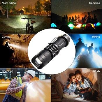 Mini Q5 T6 L2 LED Flashlight Pen Clip Telescopic Zoom Flashlamp Waterproof Torch Pocket Flash Light Use 14500 Or 18650 Battery 2