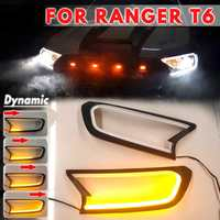 Dynamic DRL Turn Signal White Amber HeadLight LED Cover Trim ABS Lamp Hood For FORD For RANGER T6 WILDTRAK 2015 2016 2017 2018