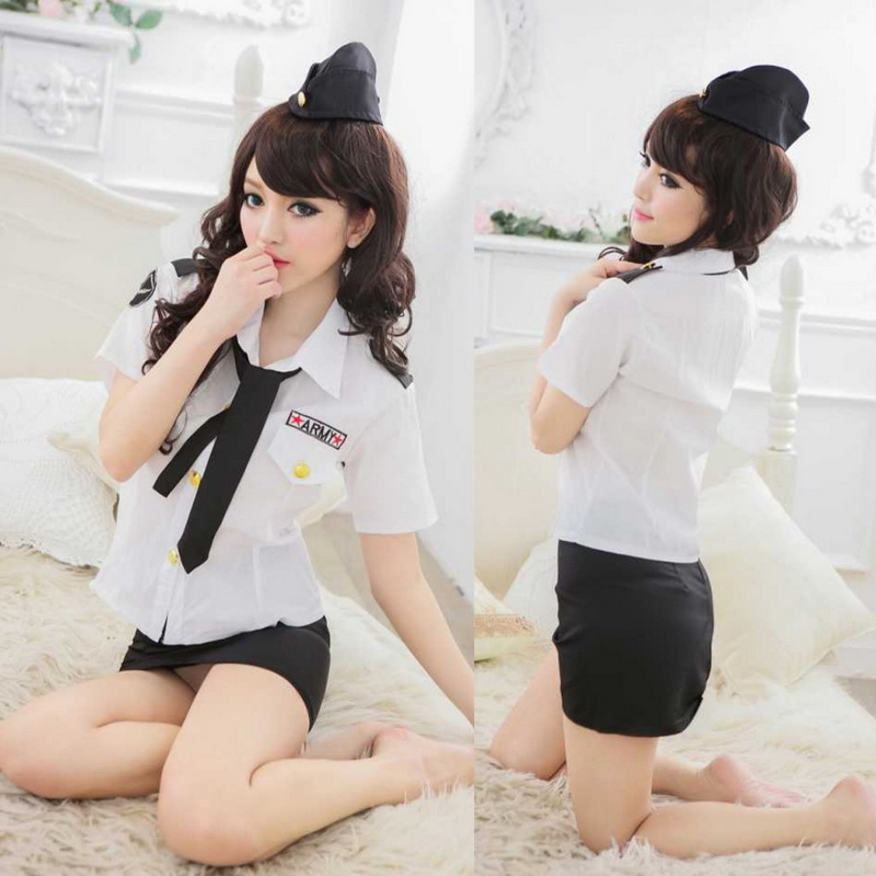 New sexy Cosplay Uniform Lingerie Hot Erotic Flight Attendant Uniform Skirt Girl Costumes Sexy Temptation Women Underwear image